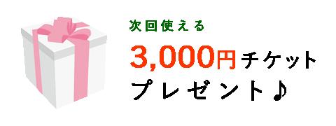 次回使える  3,000円チケット プレゼント♪
